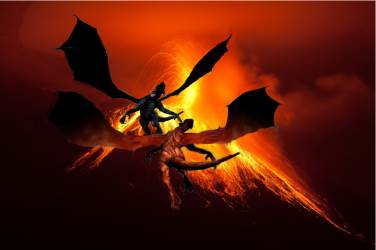 Dragons flying to home planet - The Dragons of Winter, a fantasy novel, by P.A. Brown